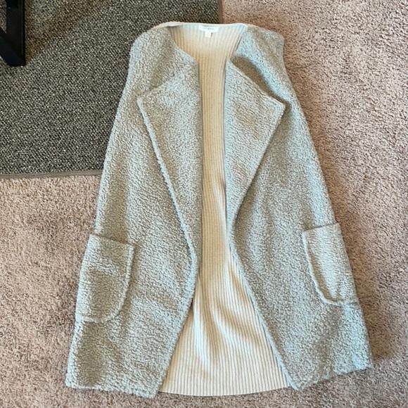Sherpa and knit long vest